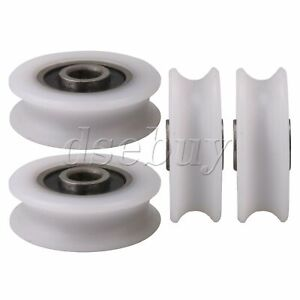 4pieces Bearing U groove Nylon Pulley Wheel Track Roller Replacement Accessory