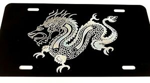 New Chinese Dragon Diamond Etched Engraved License Plate Car Tag Gift