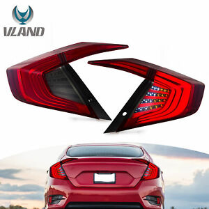 Smoked Lens Led Taillight Rear Brake Lamp Replacement For 2016 2019 Honda Civic
