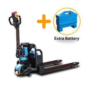 Electric Pallet Jack Truck Full Power Lithium 3300lbs Cap Plus Extra Battery