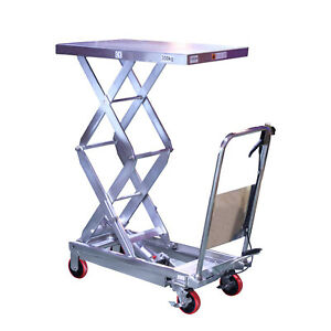 Hydraulic Double Scissor Stainless Lift Table Cart 770lbs Capacity
