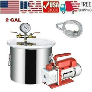 2gallon 1 4hp Vacuum Chamber 3cfm 220ml Single Stage Pump Air Ac Kit Stainless