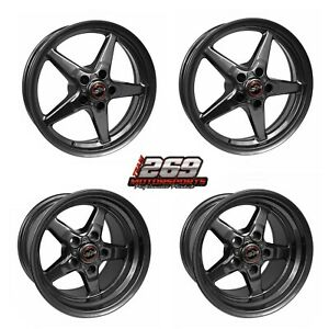Race Star 15x10 17x4 5 Fits 79 04 Mustang 5 Lug Metallic Gray Wheel Set
