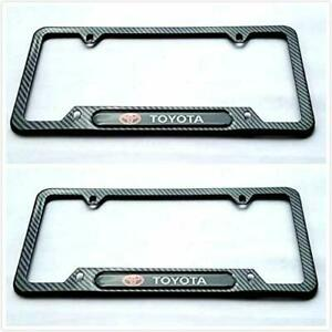 Carbon Fiber Rust Free Sport License Plate Cover Frame Screw Caps For Toyota