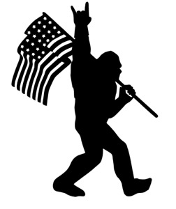 Sasquatch Bigfoot Rock On Flag Funny Diecut Vinyl Window Decal Sticker Car Truck