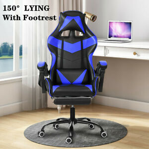 Ergonomic Office Gaming Chair Computer Desk Recliner Chair Footrest Swivel Seat