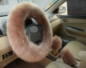 1set Brown Long Furry Steering Wheel Cover Shifter Cover And Parking Brake Cover