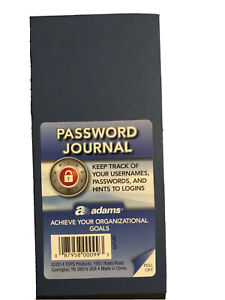 Internet Password Keeper Journal Username Passcode Address Book Notebook Blue