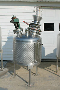 A l 75 Gallon Jacketed Stainless Steel Tank With Mixer On Legs