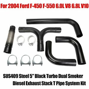 Sus409 Steel 5 T Pipe Kit Dual Smoker Exhaust Stack System Black Universal