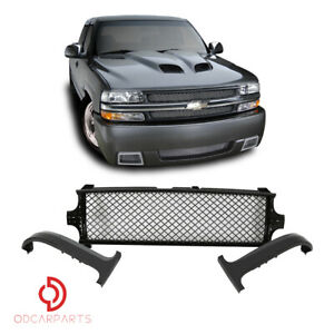 Fit 1999 2002 Chevy Silverado 00 06 Tahoe Suburban Front Upper Grille Mesh Black