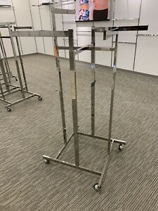 A Steal Stainless Steel Heavy Duty 4 Way Clothes Rack On Casters