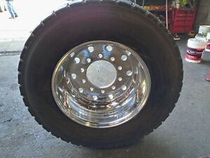 445 50r22 5 On Polished 14 25 Super Single Rims 650 00 Each