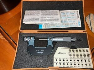 Mitutoyo Screw Thread Micrometer 126 137 0 1 001 12 Anvils 126 901 Set