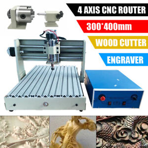 400w 4 Axis Cnc 3040 Router Engraver Engraving Carving Milling Machine