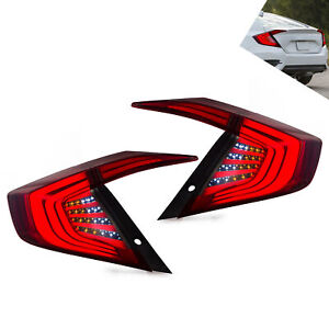 Left Right Replacement Smoke Led Taillight Brake Lamps For 2016 2019 Honda Civic