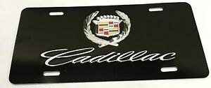 Black Metal Vehicle Front License Plate Auto Car Tag For Cadillac