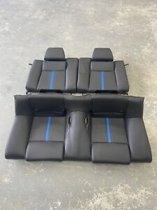 Ford Mustang Coupe Black Leather Blue Stripe Rear Seat 2010 2014