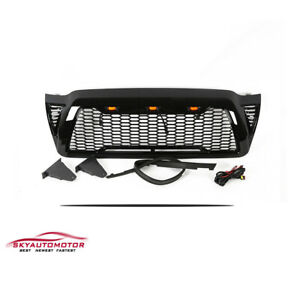 Fit 2005 2011 Toyota Tacoma Front Upper Grille Honeycome With Lights Gloss Black