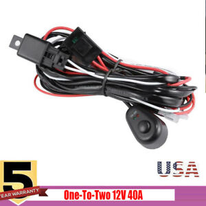 Universal Led Fog Spot Work Driving Light Wiring Loom Harness Kit W fuse relay