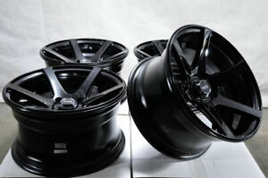 15x8 4x100 Black Wheels Fits Miata Mini Cooper Integra Civic Jetta 4 Lug Rims