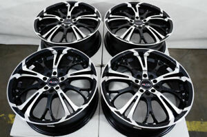 17 5x100 5x114 3 Black Wheels Fits Subaru Legacy Wrx Impreza Accord 5 Lug Rims
