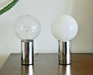 Sonneman Vtg Mid Century Modern Chrome Cylinder Ball Orb Light Desk Table Lamp