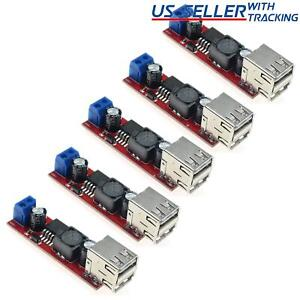 5pcs Dual Usb Lm2596 5v 3a Voltage Step down Buck Module 6 40v In With Terminals