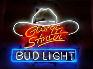 New George Strait White Hat Neon Light Sign Lamp 17 x14 Beer Gift Real Glass