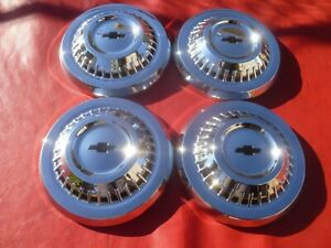 Vintage Nos 1964 65 Chevy L79 Chevelle Dog Dish Poverty Hubcaps Wheel Covers