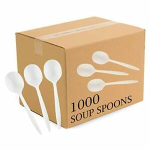 Plasticpro Cutlery Plastic Soup Spoons Medium Weight Disposable Silverware Wh