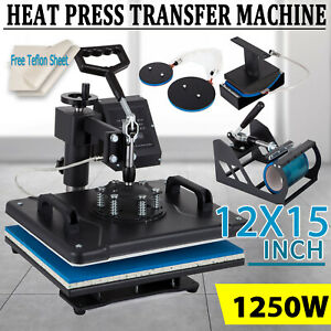 5 In 1 Heat Press Machine 12x15 Swing Away Transfer Sublimation T shirt Mug Hat