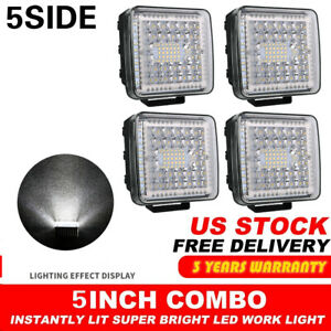 4x 5 Inch 1200w Led Work Light Bar Flood Pods Driving Off Road Tractor 4x4 4wd