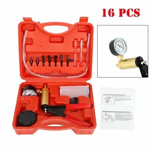 Hand Held Vacuum Pressure Pump Tester Set Brake Fluid Bleeder Bleeding Kit Car