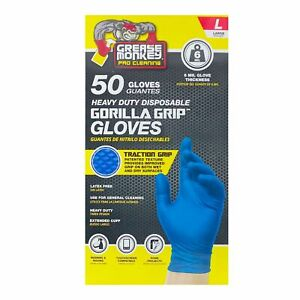 Grease Monkey Nitrile Gloves Large Gorilla Grip Blue Heavy Duty 6 Mil 50 box