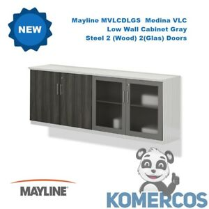 Mayline Mvlcdlgs Medina Vlc Low Wall Cabinet Gray Steel 2 wood 2 glass Doors