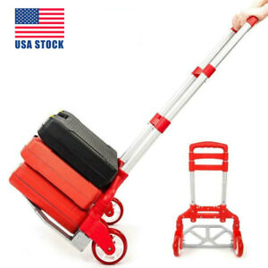 Red Portable Folding Hand Truck Aluminum Hand Cart 165lbs Home Auto Luggage Usa