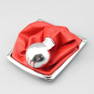 5 Speed Silver Aluminum Alloy Gear Shift Knob Boot For Ford Focus 2005 2011