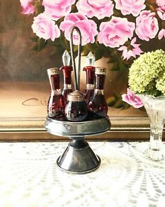 Antique Victorian Cruet Condiment Castor Set Ruby Red Glass With Silver Stand