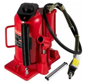 Bottle Jack 20 Ton Hydraulic With Compressed Air Assist Red