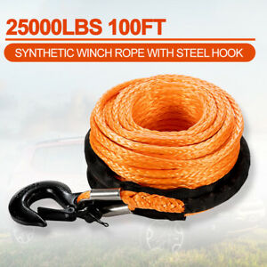 3 8 100 Synthetic Winch Rope 25000lbs Winch Line Cable Offroad Recovery