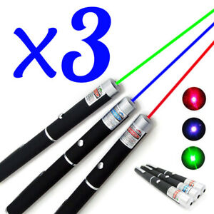 3pcs 5mw Powerful Green Blue Violet Red Laser Pointer Pen Visible Beam Light
