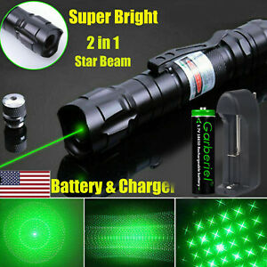 900 Miles 532nm Green Laser Pointer Star Beam Rechargeable Lazer 18650 Battery