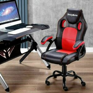 Pu Leather Sport Racing Gaming Chair Office Executive Swivel Home Computer Desk