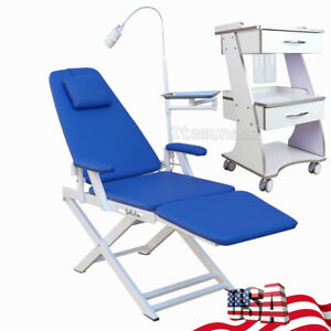 Usa Dental Folding Chair Moblie With Led Light Three Layers Serving Trolley