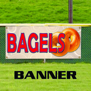 Bagels Bread Yeasted Wheat Dough Bakery Shop Advertising Vinyl Banner Sign