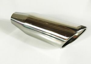 Exhaust Tip 4 00 Dia X 12 00 Long 2 250 Inlet Rolled Slant Edge W40012 225 Rs