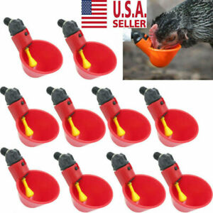 10 Pack Poultry Water Drinking Cups Chicken Hen Plastic Automatic Drinker New