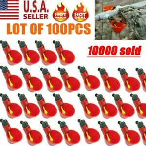 100x Poultry Water Drinking Cups Chicken Hen Plastic Automatic Drinker Quail Usa