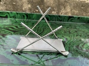 Figural Golf Club Sterling Silver Letter Desk Mail Organizer Holder